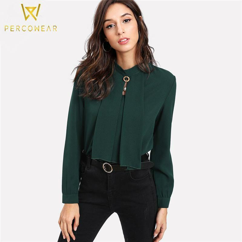 Chiffon Tie Collar Blouse - PercoWear