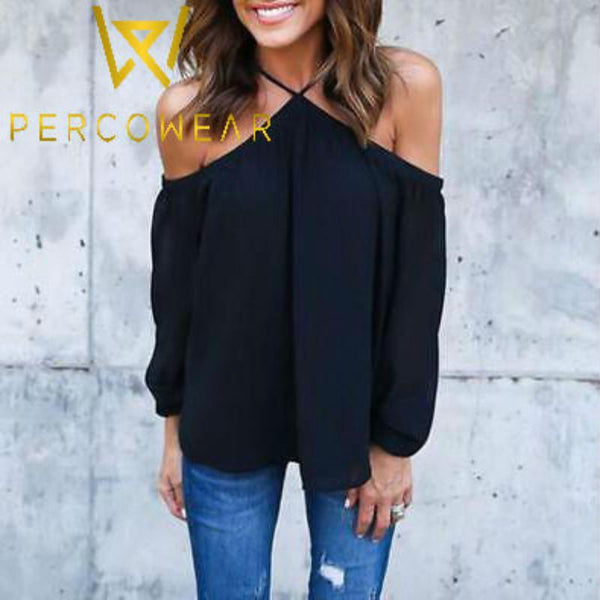 Off-Shoulder Crisscross Chiffon Blouse - PercoWear
