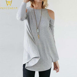 Off-Shoulder Long Sleeve Sweater - PercoWear