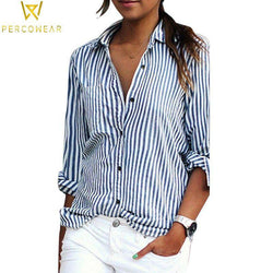 Blouses & Shirts Striped Long Sleeve Shirt with Turn-Down Collar Deja-vu Store