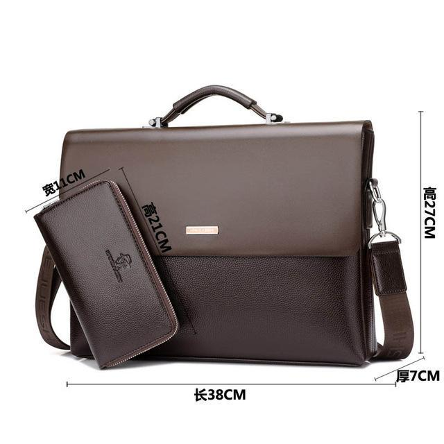 Faux Leather Business Briefcase - PercoWear