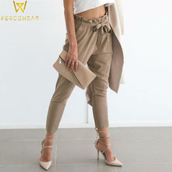 Chiffon Khaki Harem Bottoms Simplee Apparel