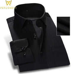 Solid Slim Fit Button-Down Shirt - PercoWear