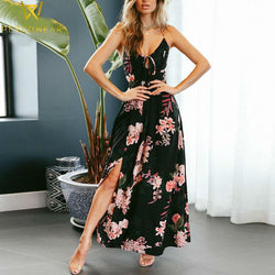 Floral Print, Lace Up, Split Leg Maxi Dress - PercoWear