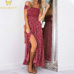 Smocked Bohemian Maxi Dress - PercoWear