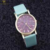 Rhinestone and Quartz Watch with Leather Strap - PercoWear