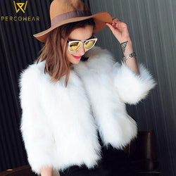 Fur Faux Short Coat with 3/4 Sleeves - PercoWear