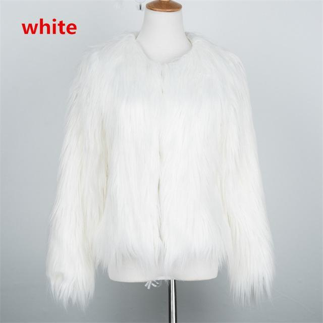 Faux Fur White / S Fluffy Faux Fur Jacket YHSBUY 2 Store