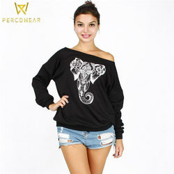 Hoodies & Sweatshirts Elephant Off-Shoulder Sweatshirt W-Yunna Official Store