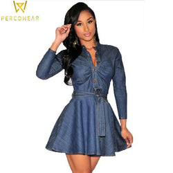 Long Sleeve Denim Mini Dress - PercoWear