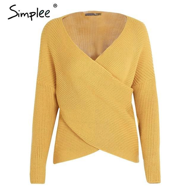 Cross Knit Long Sleeve V-Neck Sweater - PercoWear