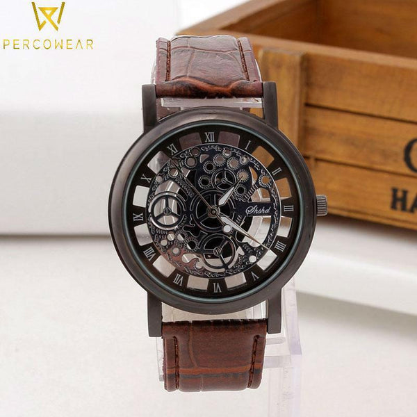 Hollow Skeleton Engraved Quartz Watch with Leather Strap - PercoWear