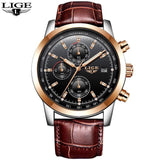 Quartz Watches L rose gold black Luxury Military Quartz Watch with Leather Strap 7Time store