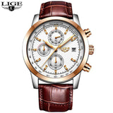 Quartz Watches L rose gold white Luxury Military Quartz Watch with Leather Strap 7Time store