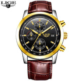 Quartz Watches leather gold black Luxury Military Quartz Watch with Leather Strap 7Time store