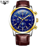 Quartz Watches leather gold blue Luxury Military Quartz Watch with Leather Strap 7Time store
