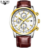 Quartz Watches leather gold white Luxury Military Quartz Watch with Leather Strap 7Time store