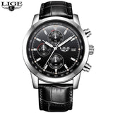 Quartz Watches leather silver black Luxury Military Quartz Watch with Leather Strap 7Time store