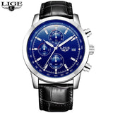 Quartz Watches leather silver blue Luxury Military Quartz Watch with Leather Strap 7Time store
