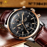 Luxury Military Quartz Watch with Leather Strap - PercoWear