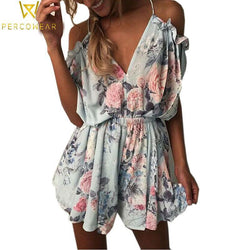 Off-Shoulder Floral Romper - PercoWear