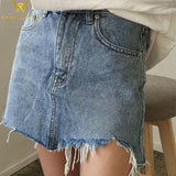Distressed Denim Mini Skirt - PercoWear