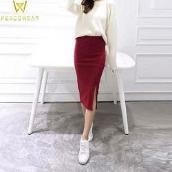 Mid Waist Side-Slit Pencil Skirt - PercoWear