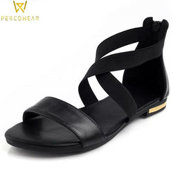 Genuine Leather Strappy Sandals - PercoWear