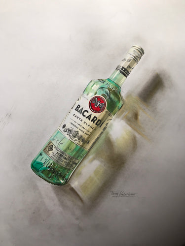 Bacardi Bottle Original Pencil Drawing