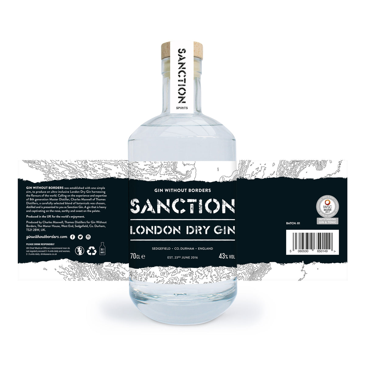 Sanction Gin London Dry Gin 70 cl 43% ABV