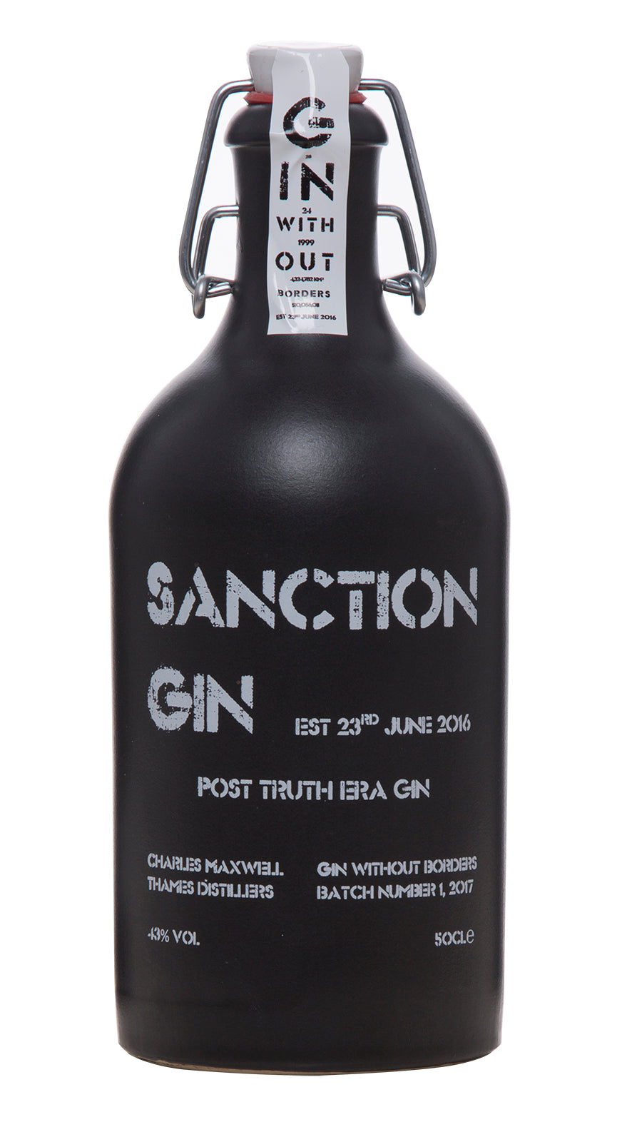 Sanction Gin London Dry Gin Limted Edition Ceramic Bottle 50 cl 43% ABV