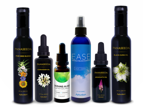 Image of PANASEEDA Five Seed Blend Oil, Coriander Oil, Oceans Alive, EASE Magnesium, Amaranth Oil and Coriander Oil