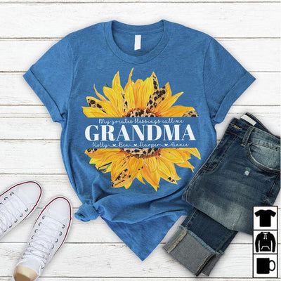 My Greatest Blessing Call Me Grandma Flower | Personalized T-shirt