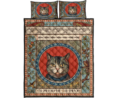 Cat Flower Motif Bedding Set