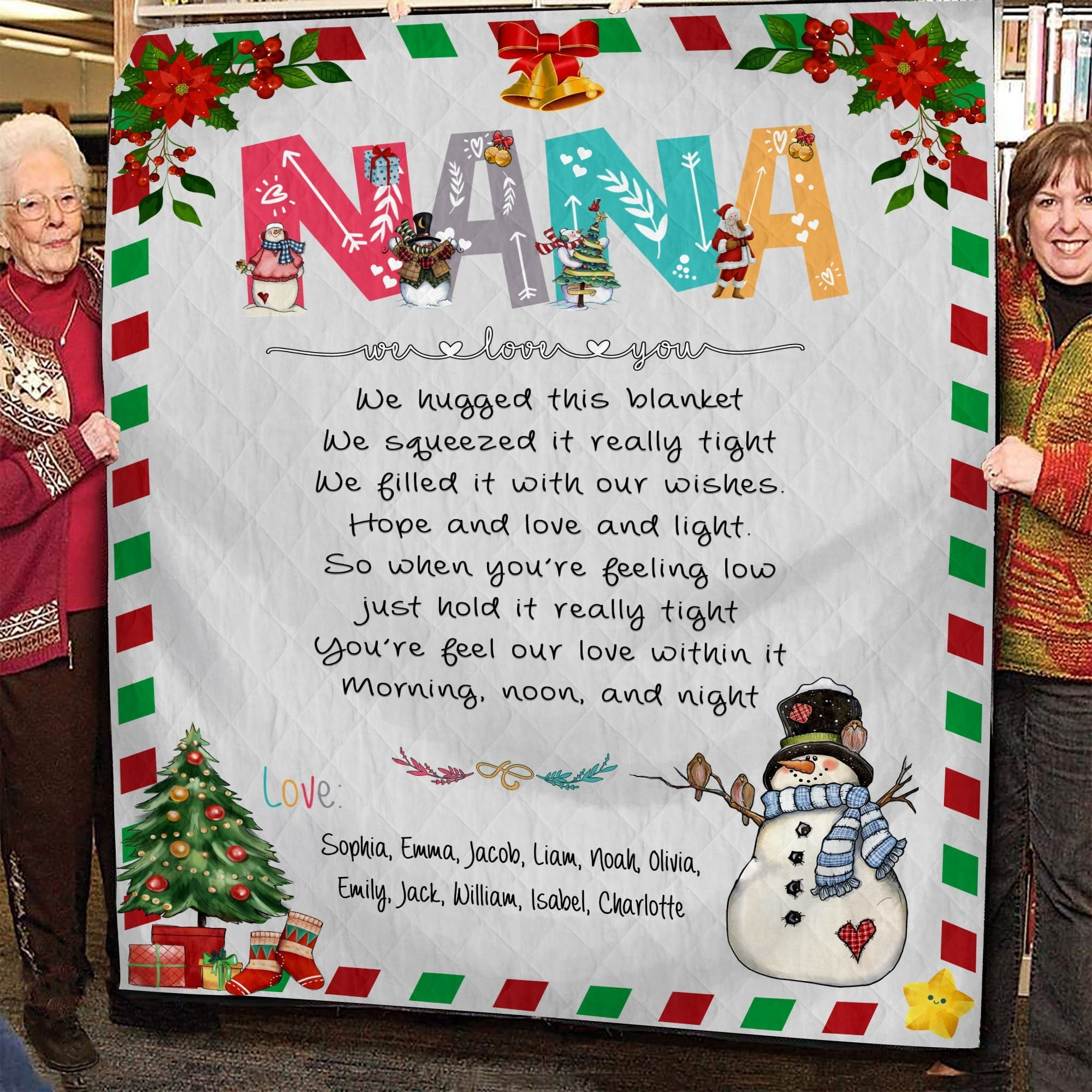 Grandma We Love You - Christmas | Family Personalized Blanket