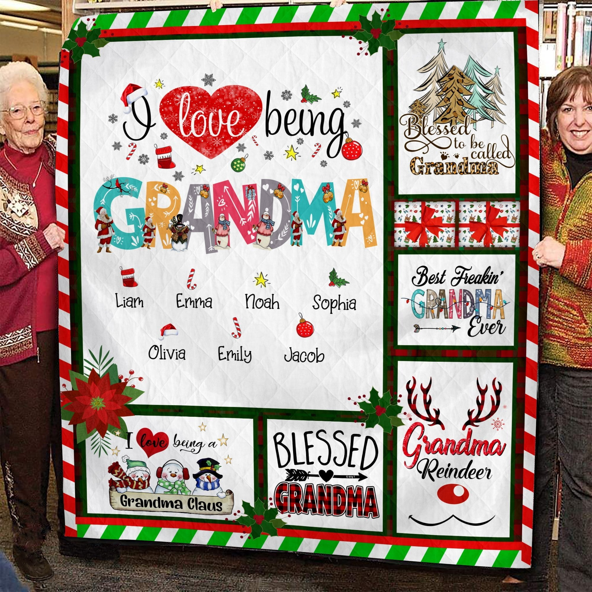 I Love Being Grandma Blanket | Family Personalized Blanket