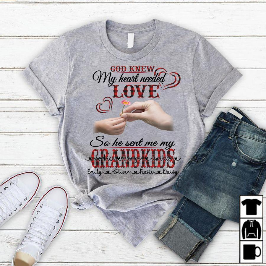 God Sent Me My Grandkids | Personalized T-shirt