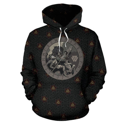 Viking Battle Of The God Odin with Fenrir Hoodie