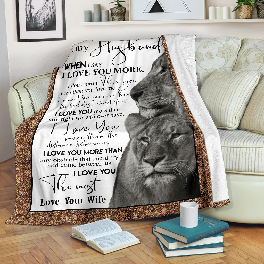 To My Husband - Gift From Wife Lion Blanket