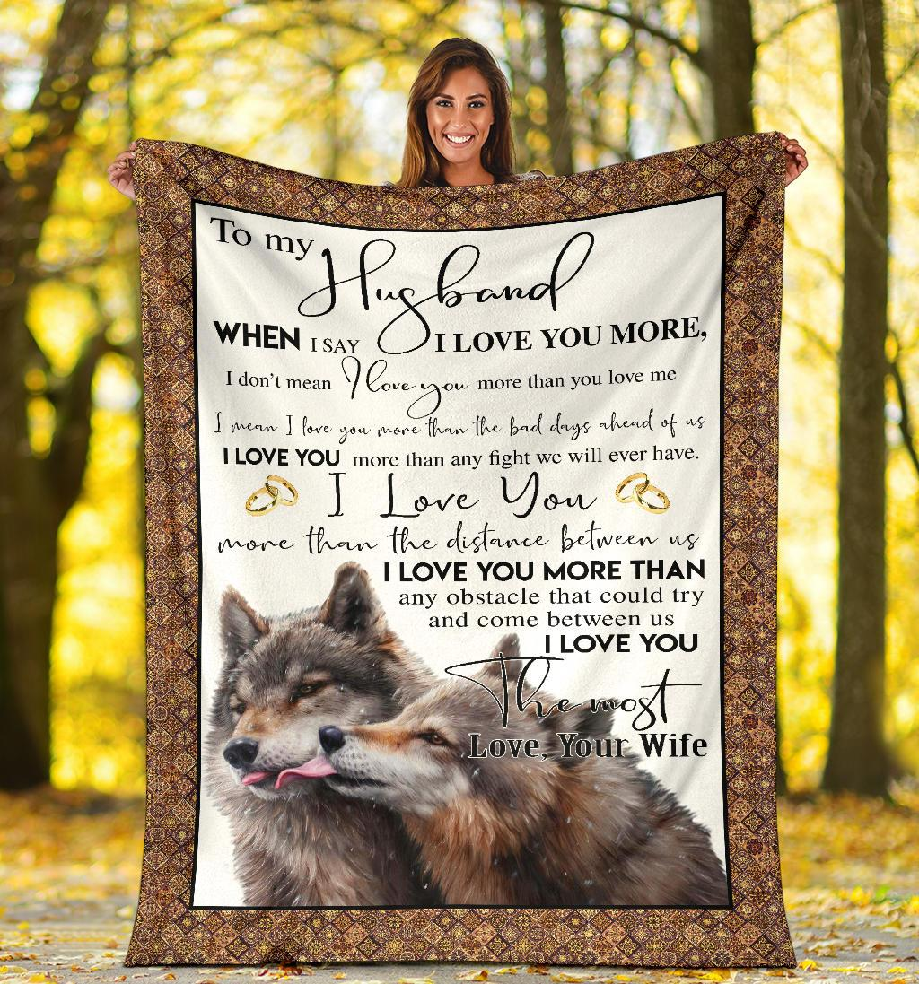 To My Husband - Gift From Wife Wolf Blanket