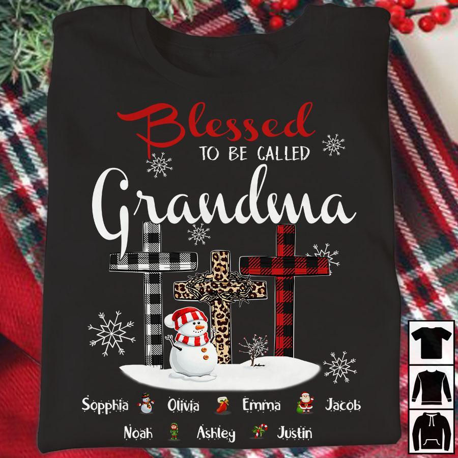 Blessed To Be Called Grandma - Snowman | Personalized T-Shirt