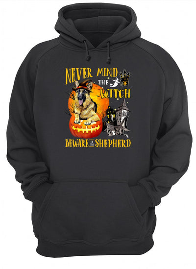 NEVER MIND THE WITCH GERMAN SHEPHERD HALLOWEEN SHIRT