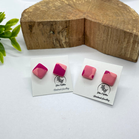 'All The Pinks' Square Studs