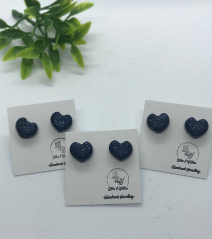 Navy Sparkle Hearts MINI STUDS