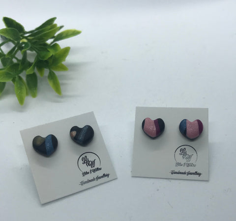 Multicolour Heart MINI STUDS