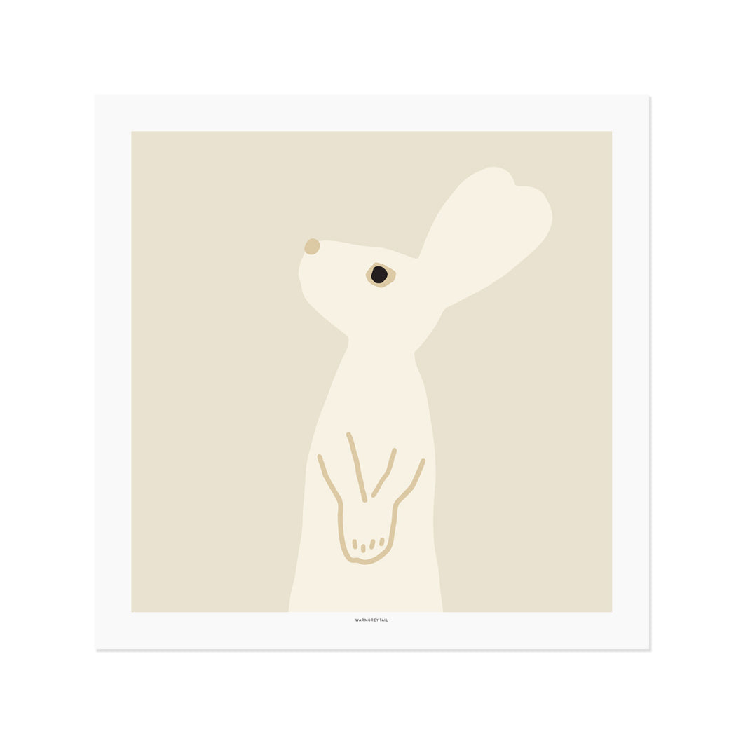 Heart Rabbit Square - Beige