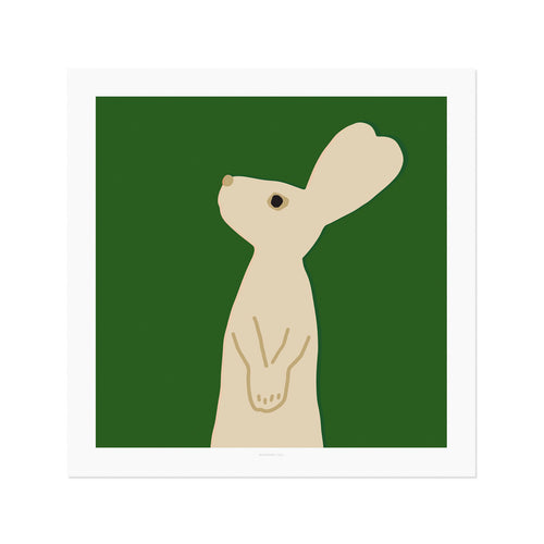 Heart Rabbit Square - Green