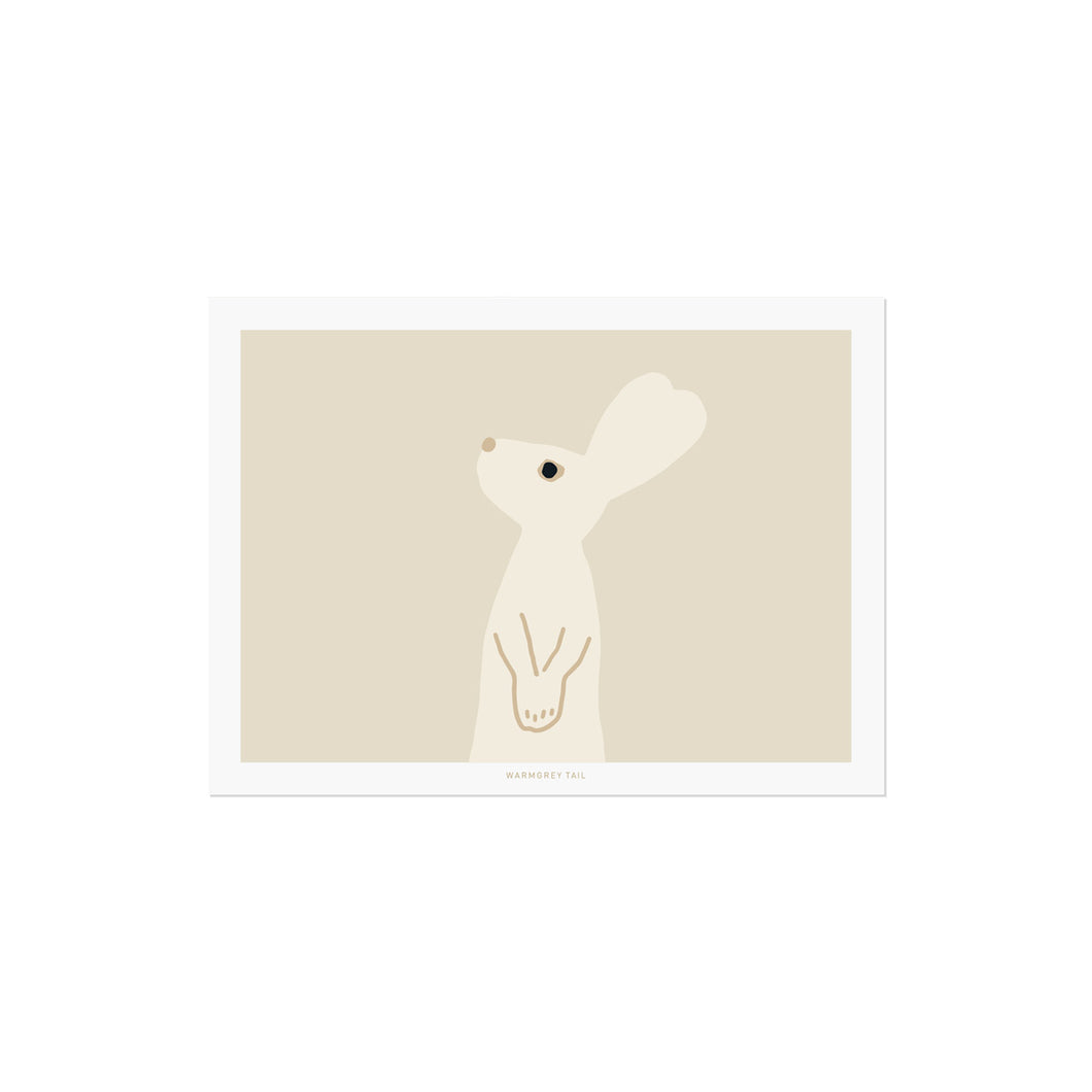 HEART RABBIT - BEIGE POSTCARD