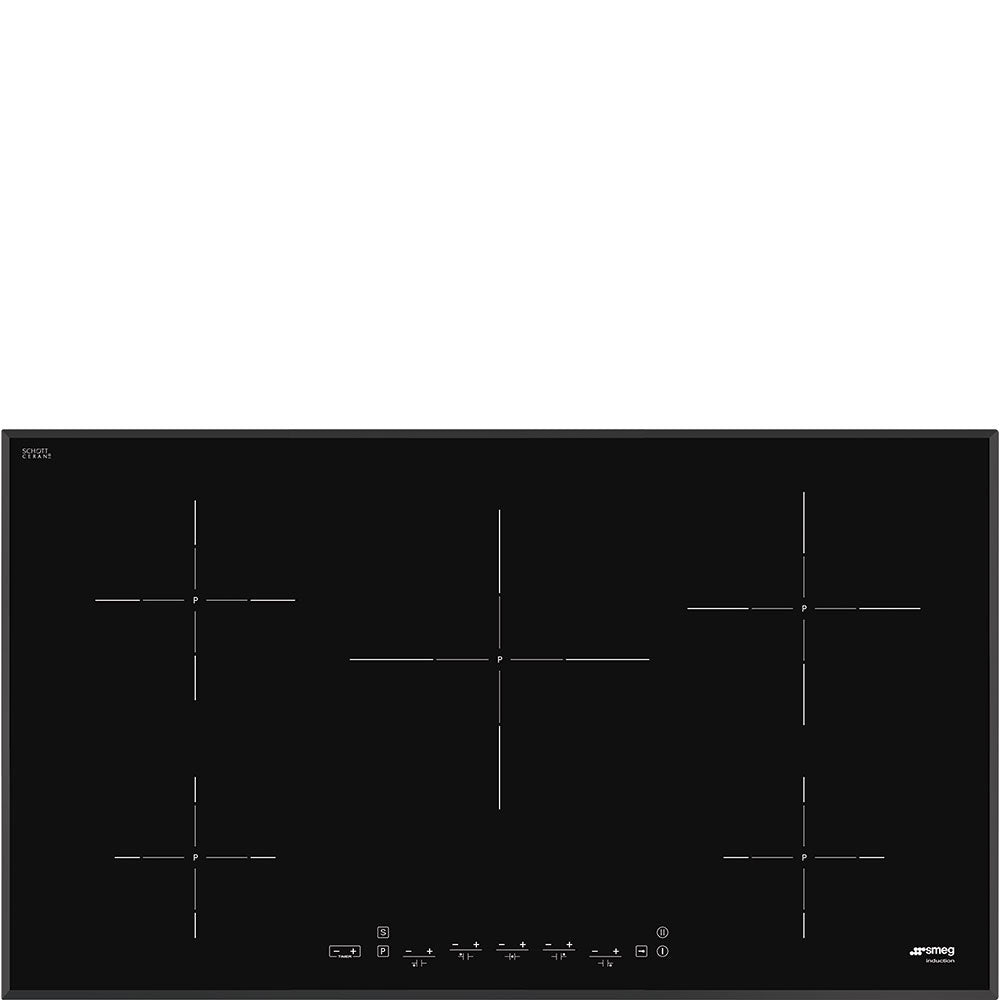 SMEG - 90cm Black Glass with Angled Edge Induction Hob