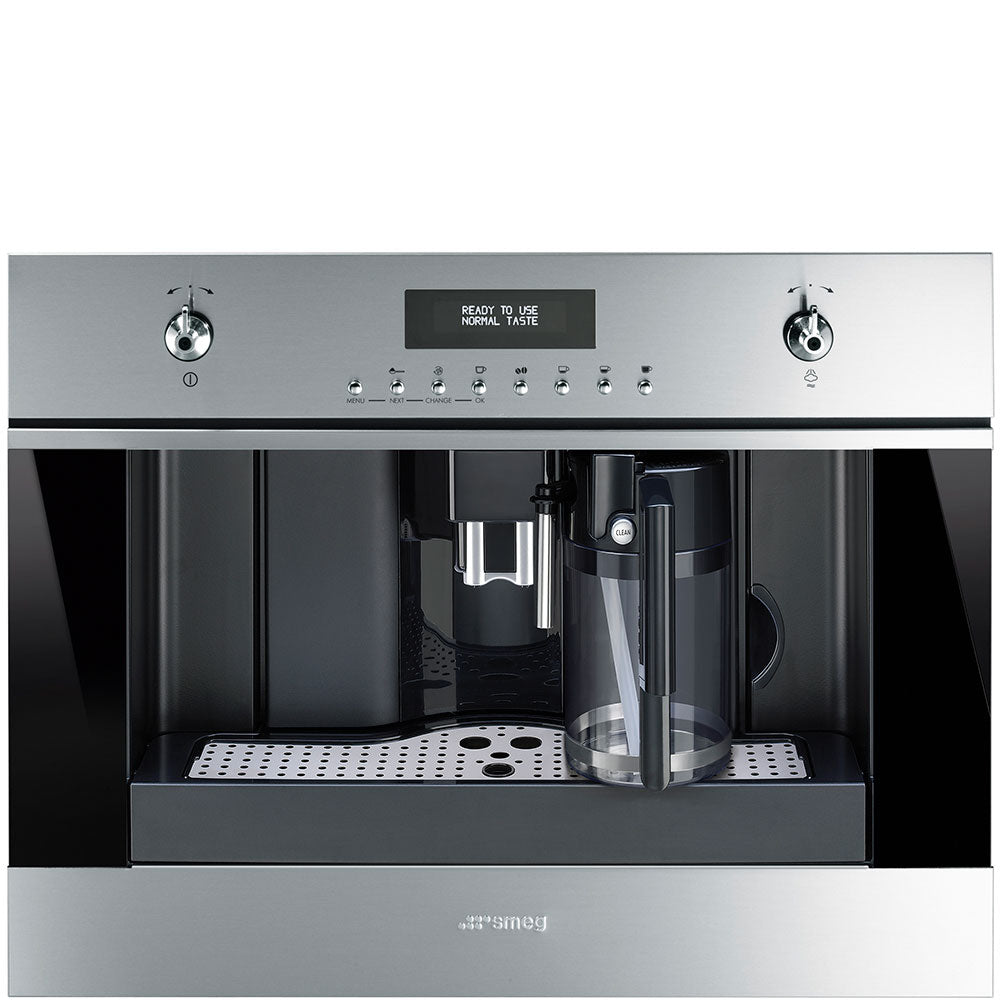 SMEG - Compact 60cm x 45cm Stainless Steel and Black Eclipse Glass Classic Coffee Machine